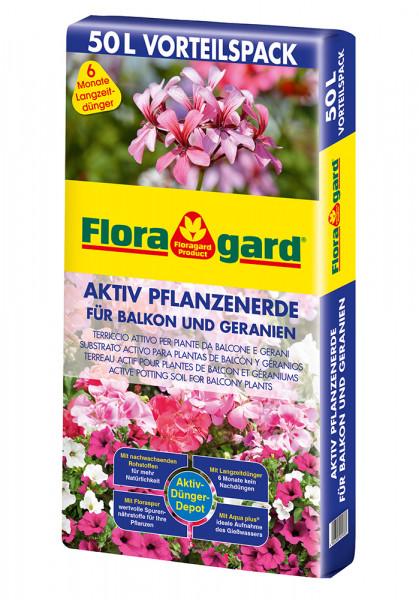 Aktiv Pflanzenerde für Balkon und Geranien 50L